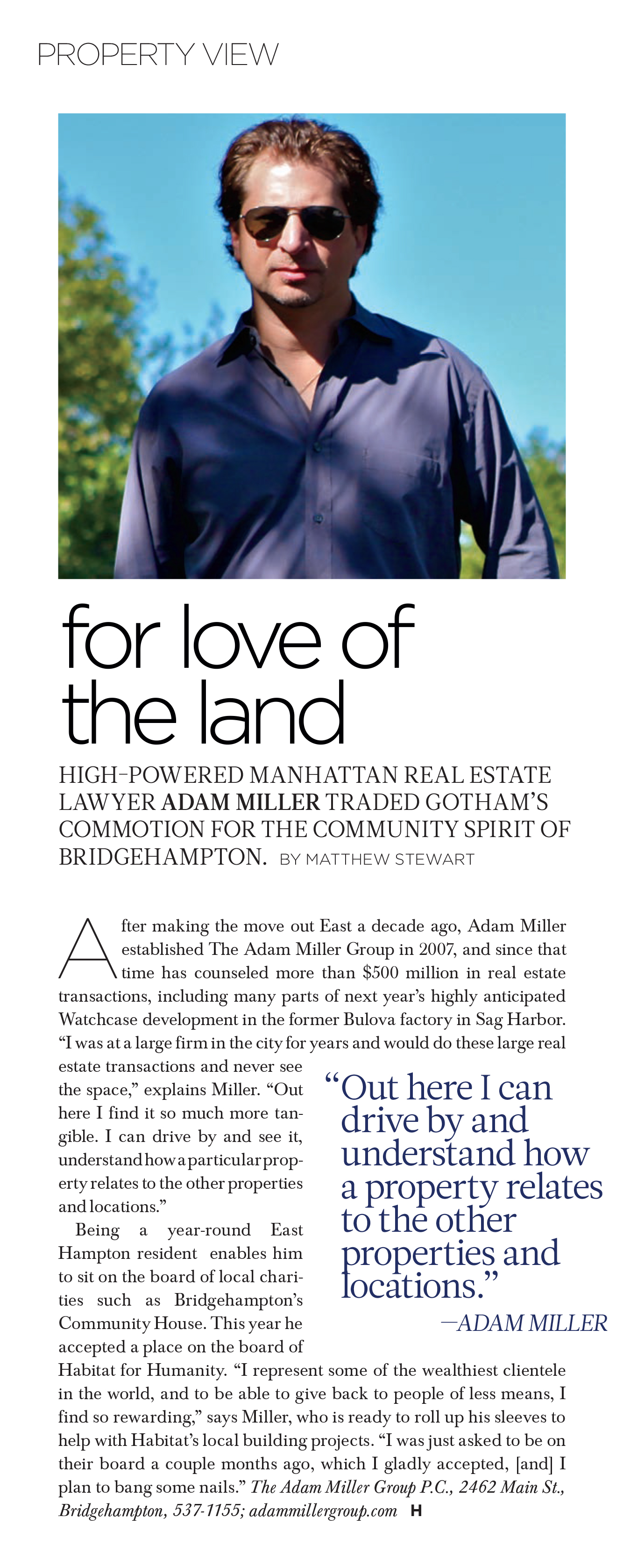 For Love of the Land Hamptons Magazine September 2013