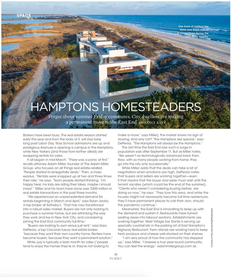 Hamptons Homesteaders - Purist July 2020 issue